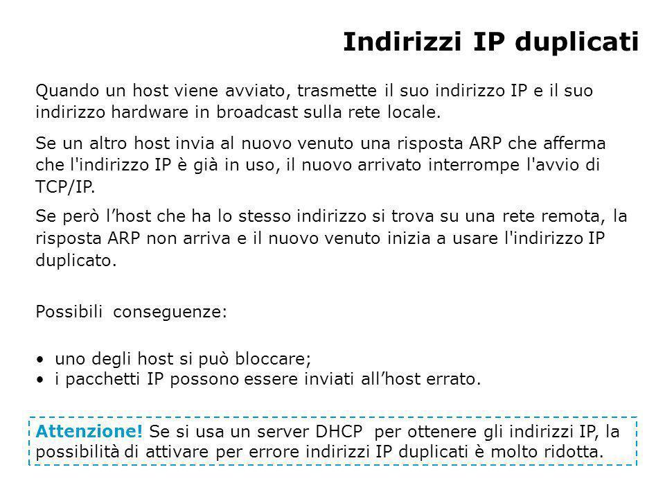 Indirizzi IP duplicati Quando un host viene avviato, trasmette il suo indirizzo IP e il suo indirizzo hardware in broadcast sulla rete locale.