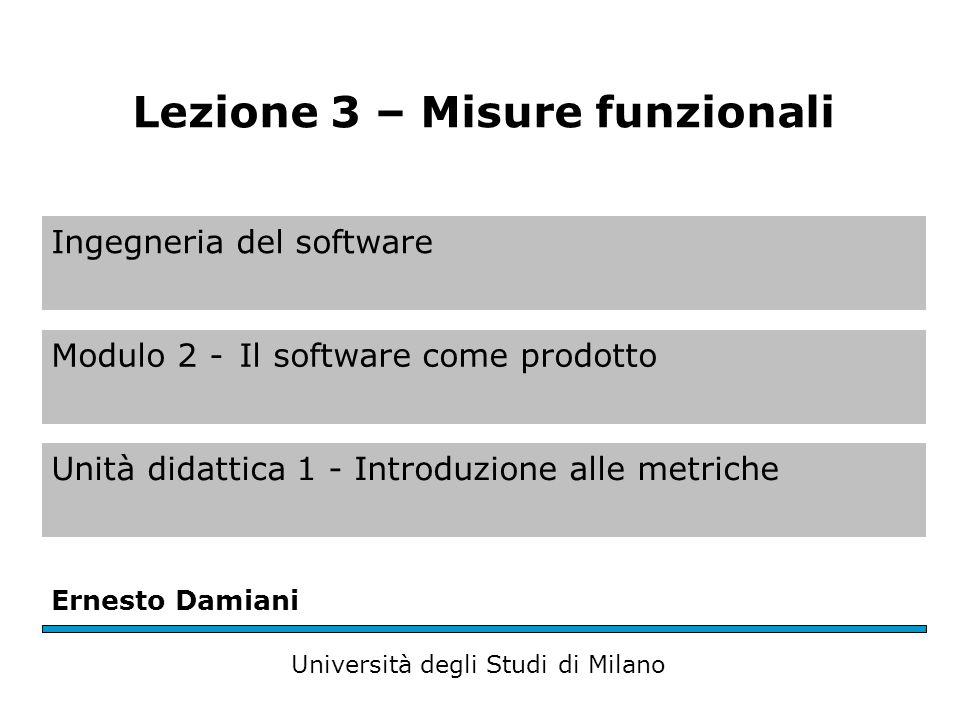 Ingegneria del software Modulo 2 -Il software come prodotto Unità didattica 1 - Introduzione alle metriche Ernesto Damiani Università degli Studi di Milano Lezione 3 – Misure funzionali