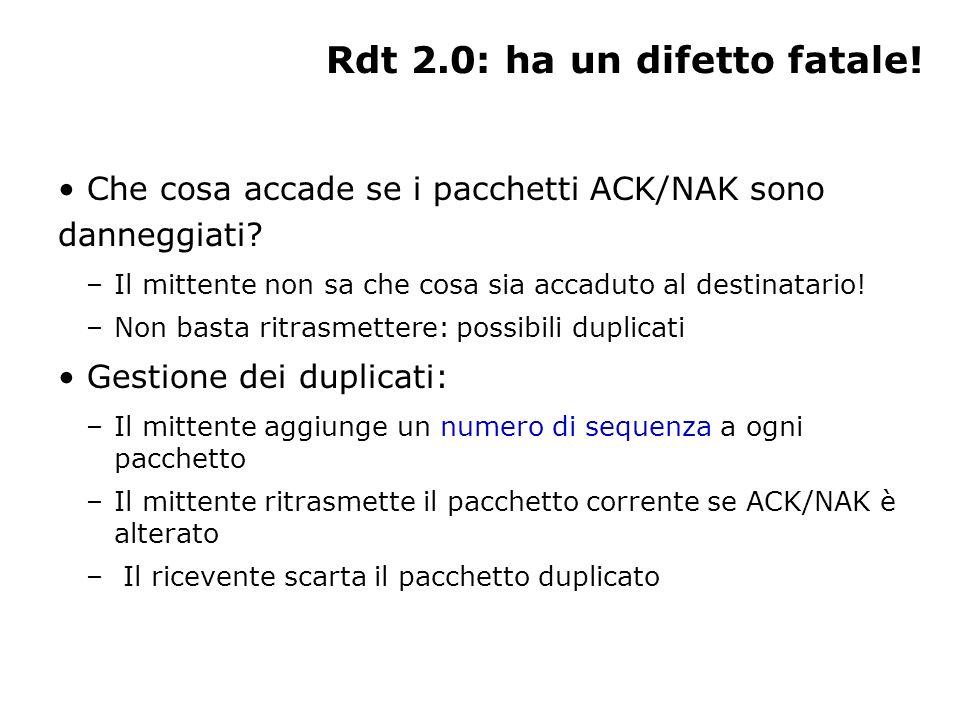 Rdt 2.0: ha un difetto fatale! Che cosa accade se i pacchetti ACK/NAK sono danneggiati? –Il mittente non sa che cosa sia accaduto al destinatario! –No