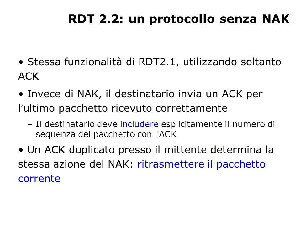 RDT 2.2: un protocollo senza NAK Stessa funzionalità di RDT2.1, utilizzando soltanto ACK Invece di NAK, il destinatario invia un ACK per l ultimo pacc