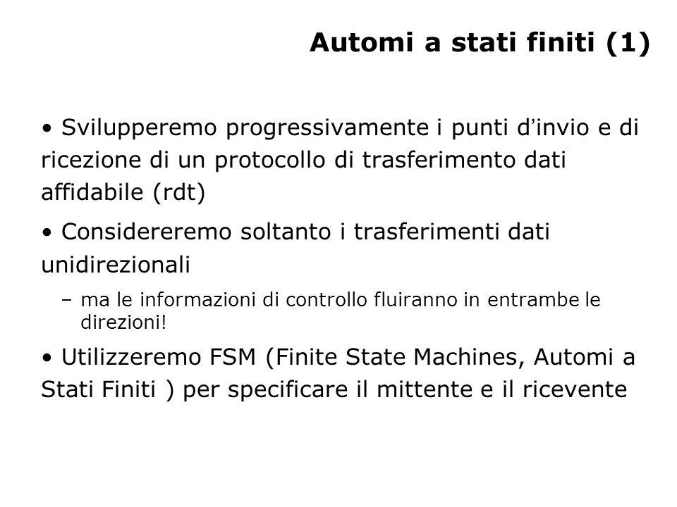 Automi a stati finiti (1) Svilupperemo progressivamente i punti d invio e di ricezione di un protocollo di trasferimento dati affidabile (rdt) Conside