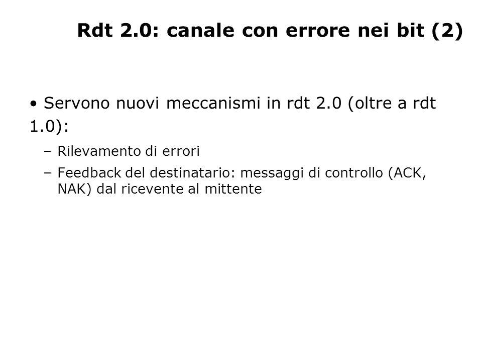 Rdt 2.0: canale con errore nei bit (2) Servono nuovi meccanismi in rdt 2.0 (oltre a rdt 1.0): –Rilevamento di errori –Feedback del destinatario: messa