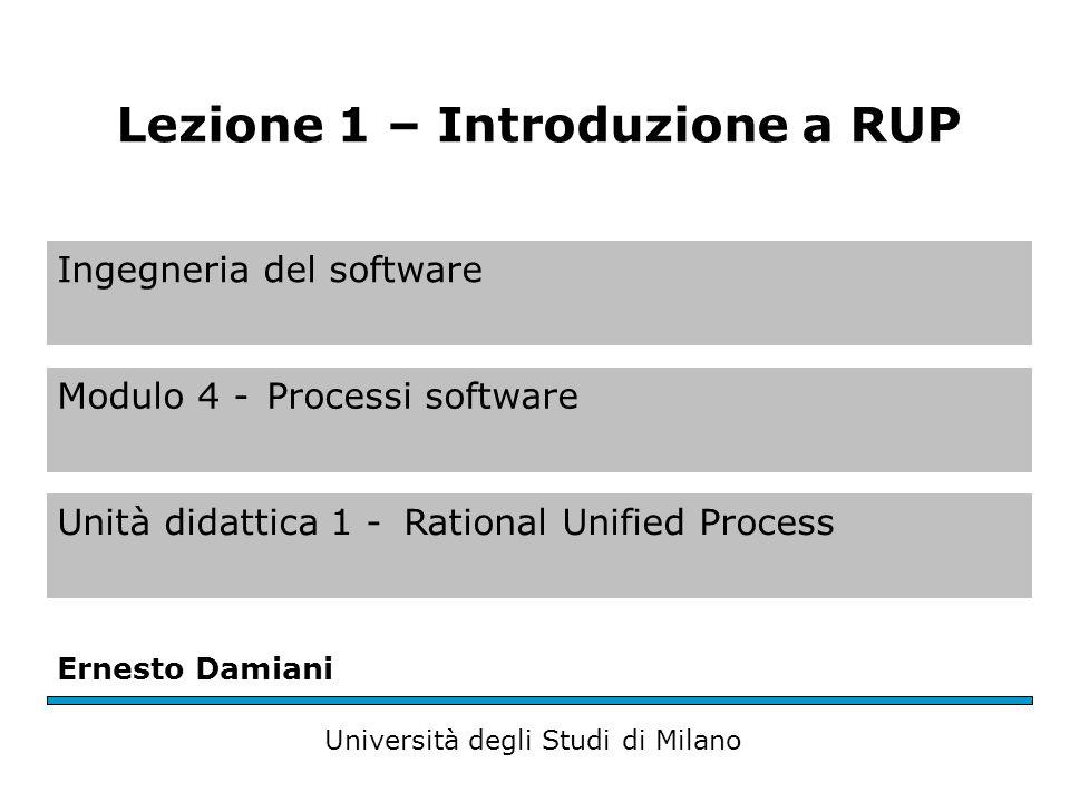 Ingegneria del software Modulo 4 -Processi software Unità didattica 1 -Rational Unified Process Ernesto Damiani Università degli Studi di Milano Lezione 1 – Introduzione a RUP