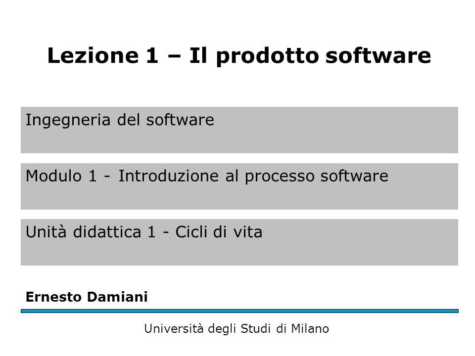Ingegneria del software Modulo 1 -Introduzione al processo software Unità didattica 1 - Cicli di vita Ernesto Damiani Università degli Studi di Milano Lezione 1 – Il prodotto software