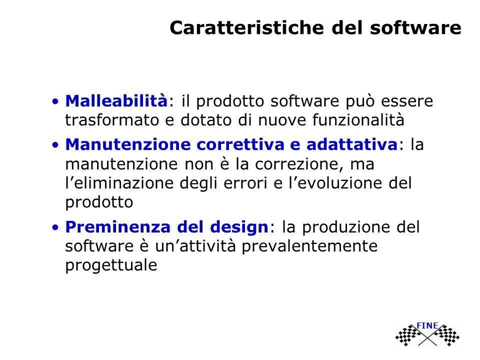 Caratteristiche del software Malleabilità: il prodotto software può essere trasformato e dotato di nuove funzionalità Manutenzione correttiva e adattativa: la manutenzione non è la correzione, ma leliminazione degli errori e levoluzione del prodotto Preminenza del design: la produzione del software è unattività prevalentemente progettuale FINE