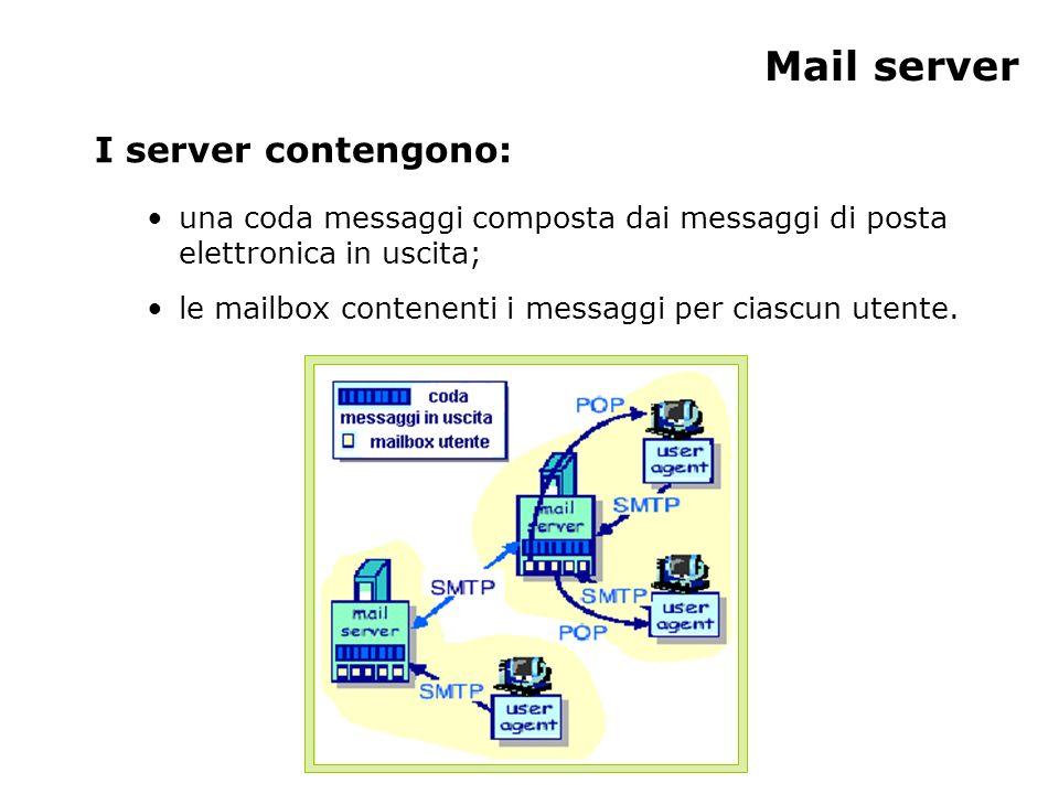 Mail server I server contengono: una coda messaggi composta dai messaggi di posta elettronica in uscita; le mailbox contenenti i messaggi per ciascun