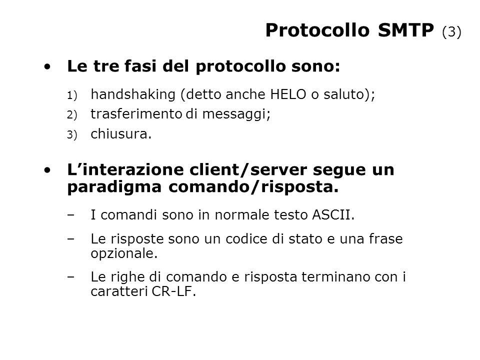 Protocollo SMTP (3) Le tre fasi del protocollo sono: 1) handshaking (detto anche HELO o saluto); 2) trasferimento di messaggi; 3) chiusura. Linterazio