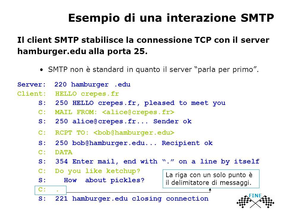 Esempio di una interazione SMTP Il client SMTP stabilisce la connessione TCP con il server hamburger.edu alla porta 25. SMTP non è standard in quanto