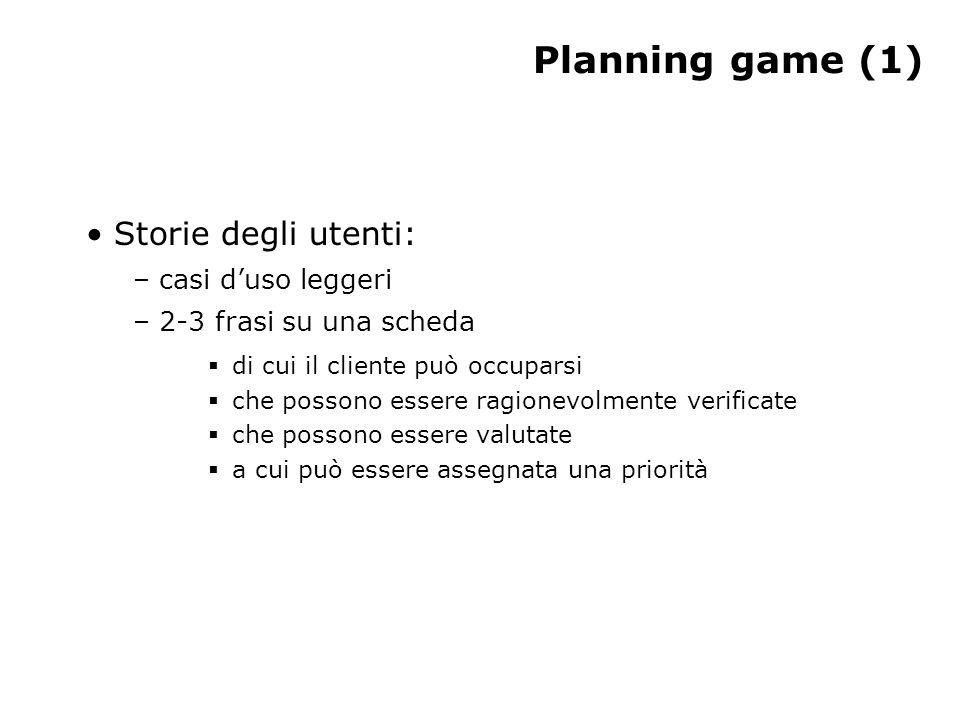 Planning game (1) Storie degli utenti: – casi duso leggeri – 2-3 frasi su una scheda di cui il cliente può occuparsi che possono essere ragionevolment
