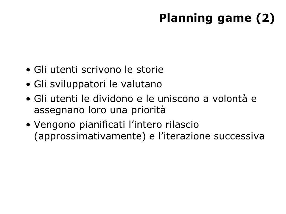 Planning game (2) Gli utenti scrivono le storie Gli sviluppatori le valutano Gli utenti le dividono e le uniscono a volontà e assegnano loro una priorità Vengono pianificati lintero rilascio (approssimativamente) e literazione successiva