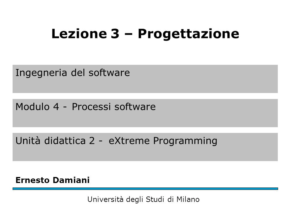 Ingegneria del software Modulo 4 -Processi software Unità didattica 2 -eXtreme Programming Ernesto Damiani Università degli Studi di Milano Lezione 3 – Progettazione