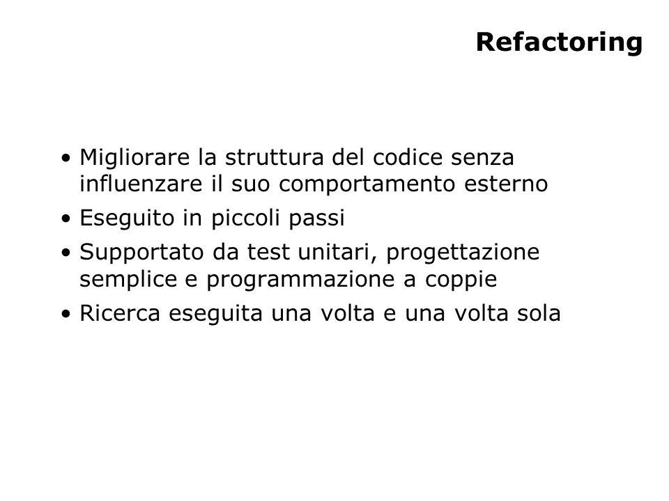 Refactoring Migliorare la struttura del codice senza influenzare il suo comportamento esterno Eseguito in piccoli passi Supportato da test unitari, progettazione semplice e programmazione a coppie Ricerca eseguita una volta e una volta sola
