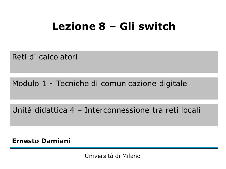 Reti di calcolatori Modulo 1 -Tecniche di comunicazione digitale Unità didattica 4 – Interconnessione tra reti locali Ernesto Damiani Università di Milano Lezione 8 – Gli switch