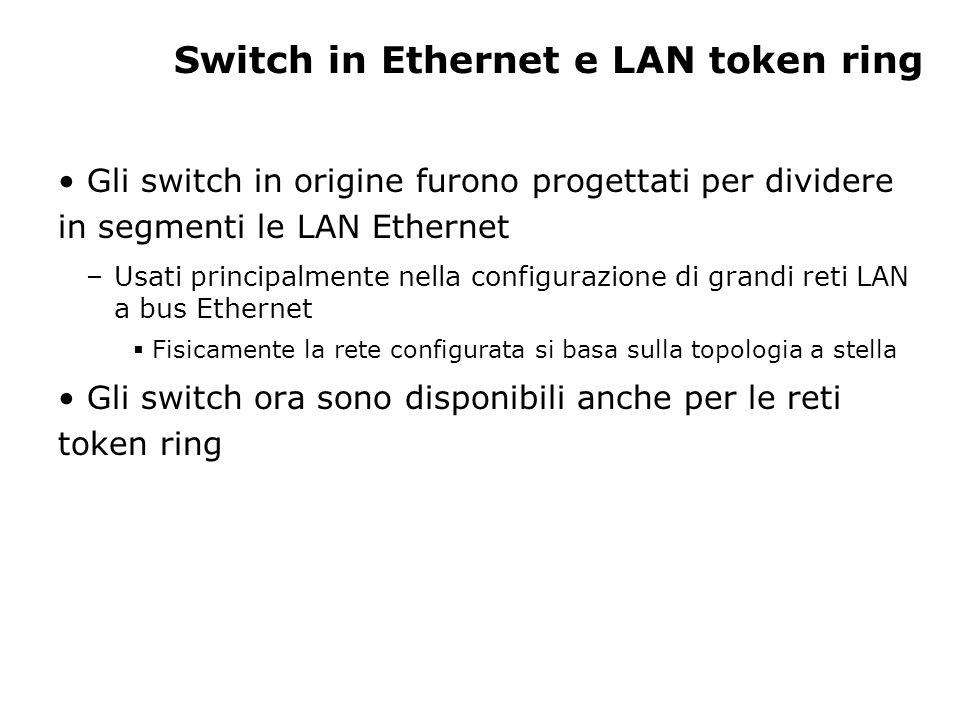 Switch in Ethernet e LAN token ring Gli switch in origine furono progettati per dividere in segmenti le LAN Ethernet –Usati principalmente nella configurazione di grandi reti LAN a bus Ethernet Fisicamente la rete configurata si basa sulla topologia a stella Gli switch ora sono disponibili anche per le reti token ring