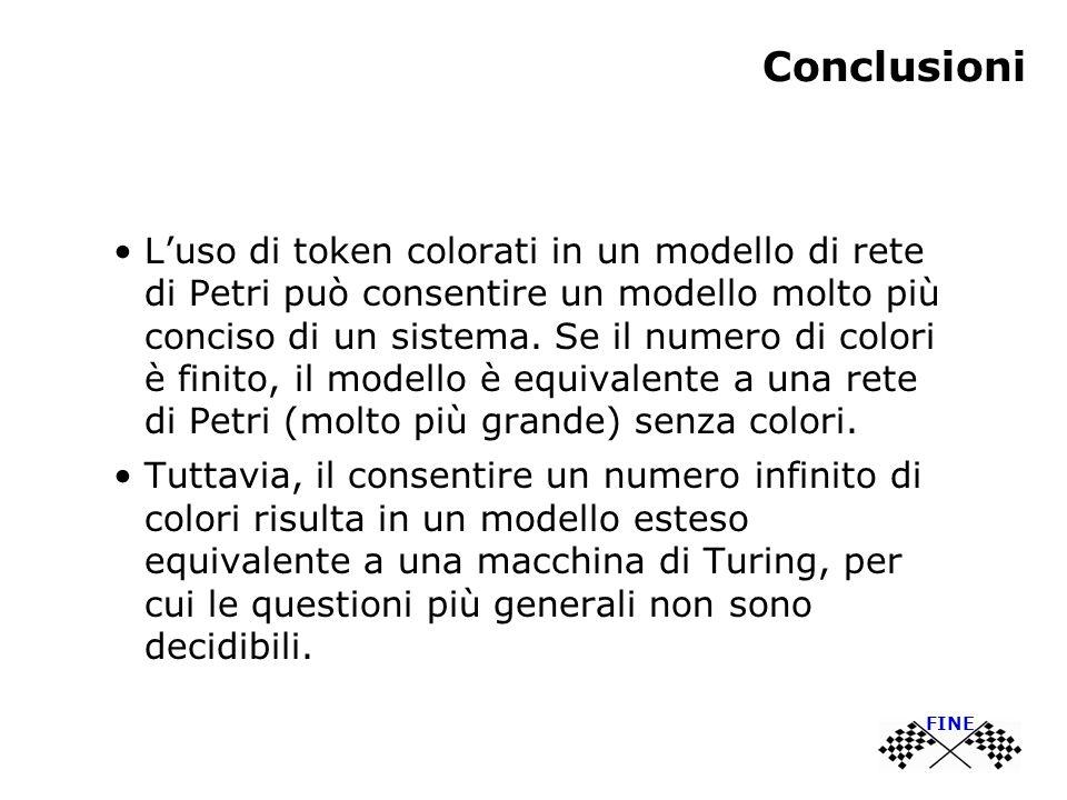 Conclusioni Luso di token colorati in un modello di rete di Petri può consentire un modello molto più conciso di un sistema.