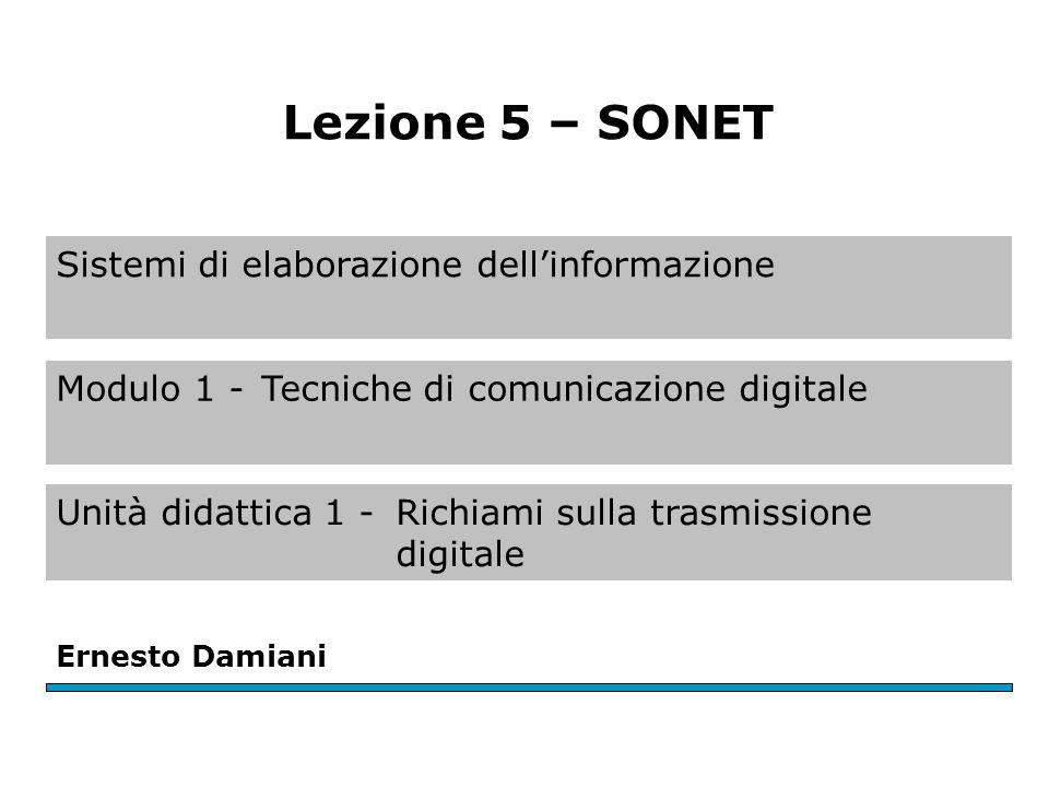 Sistemi di elaborazione dellinformazione Ernesto Damiani Lezione 5 – SONET Modulo 1 -Tecniche di comunicazione digitale Unità didattica 1 -Richiami sulla trasmissione digitale