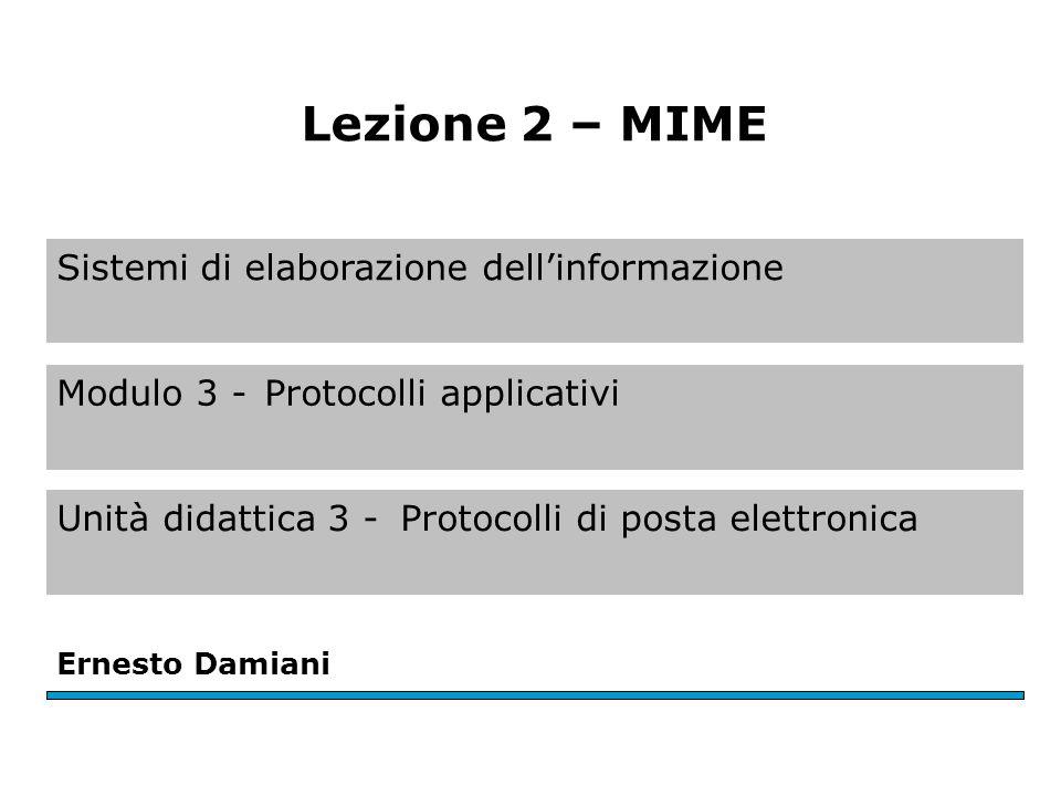Sistemi di elaborazione dellinformazione Modulo 3 -Protocolli applicativi Unità didattica 3 -Protocolli di posta elettronica Ernesto Damiani Lezione 2 – MIME
