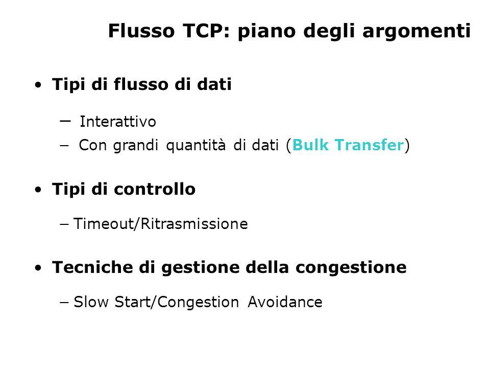 Tipi di flusso di dati Interattivo Con grandi quantità di dati (Bulk Transfer) Tipi di controllo Timeout/Ritrasmissione Tecniche di gestione della con