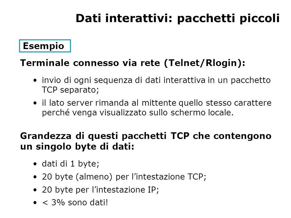 Dati interattivi: pacchetti piccoli Esempio Terminale connesso via rete (Telnet/Rlogin): invio di ogni sequenza di dati interattiva in un pacchetto TC