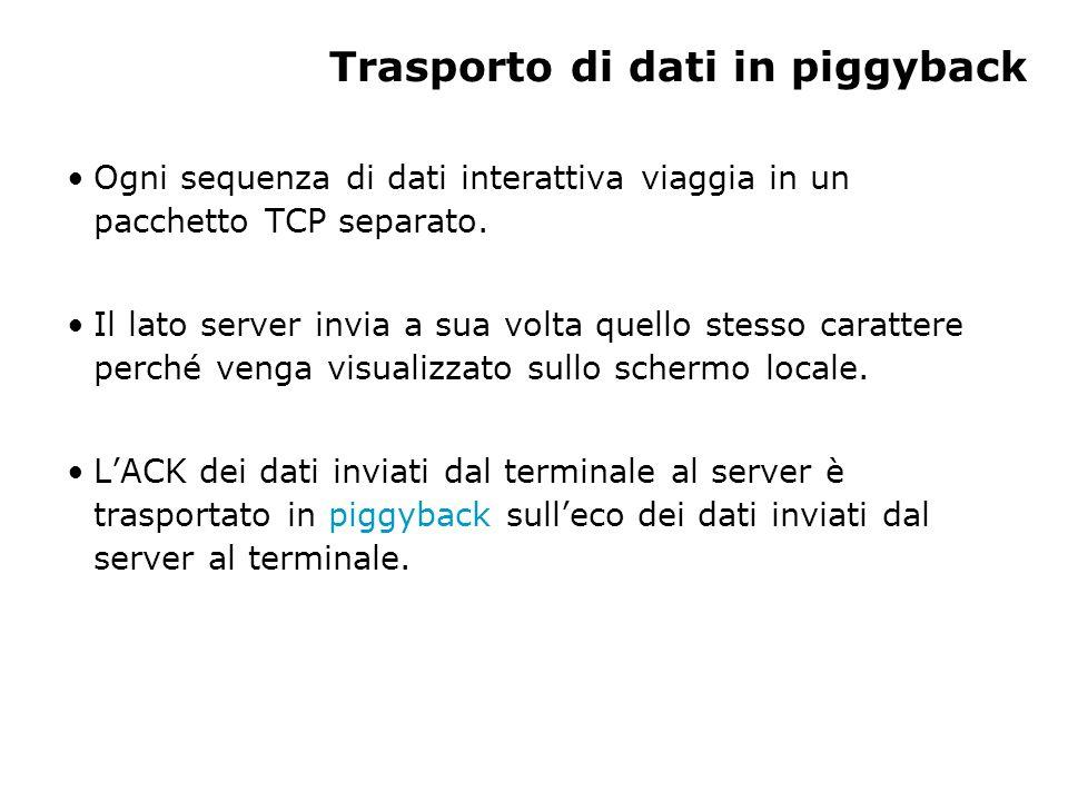 Trasporto di dati in piggyback Ogni sequenza di dati interattiva viaggia in un pacchetto TCP separato. Il lato server invia a sua volta quello stesso