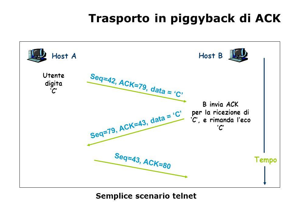 Trasporto in piggyback di ACK Semplice scenario telnet Host A Host B Seq=42, ACK=79, data = C Seq=79, ACK=43, data = C Seq=43, ACK=80 Utente digita C