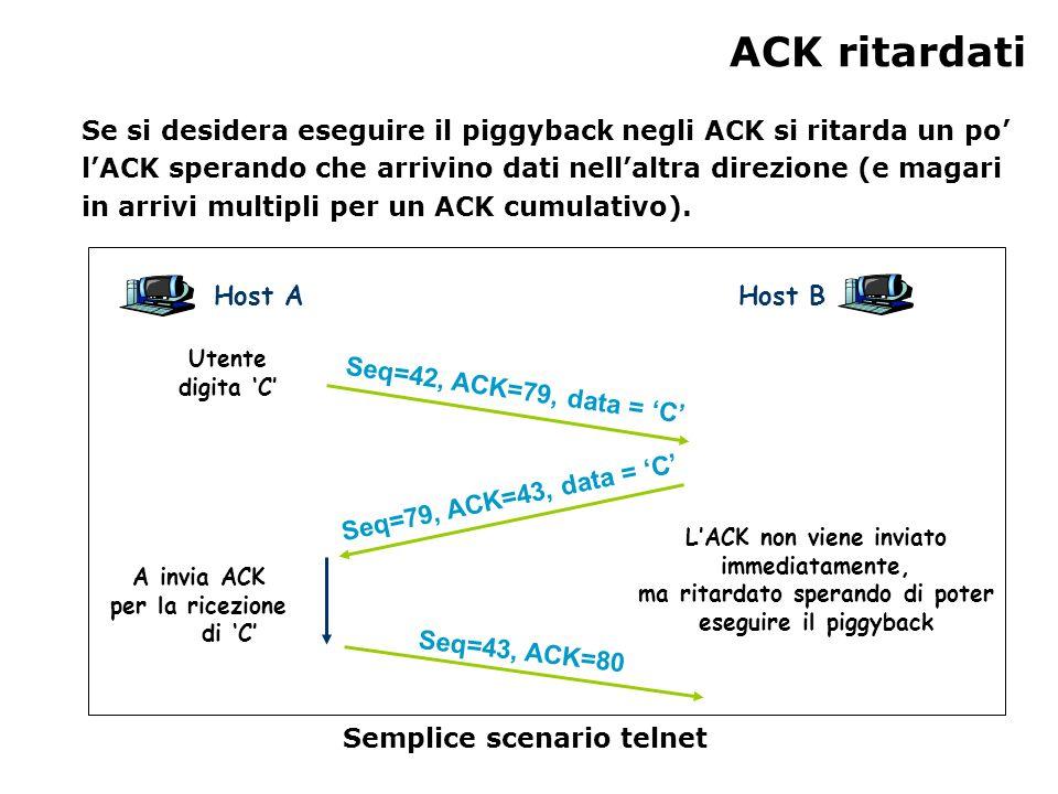 ACK ritardati Se si desidera eseguire il piggyback negli ACK si ritarda un po lACK sperando che arrivino dati nellaltra direzione (e magari in arrivi