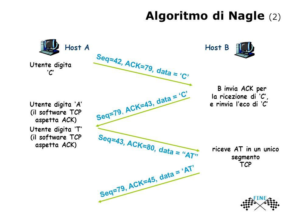 Algoritmo di Nagle (2) Utente digita C B invia ACK per la ricezione di C, e rinvia leco di C Utente digita A (il software TCP aspetta ACK) Utente digi