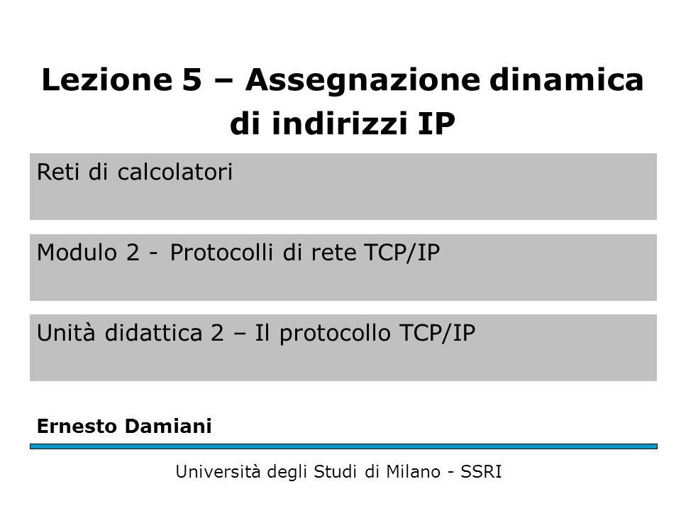 Reti di calcolatori Modulo 2 -Protocolli di rete TCP/IP Unità didattica 2 – Il protocollo TCP/IP Ernesto Damiani Università degli Studi di Milano - SS