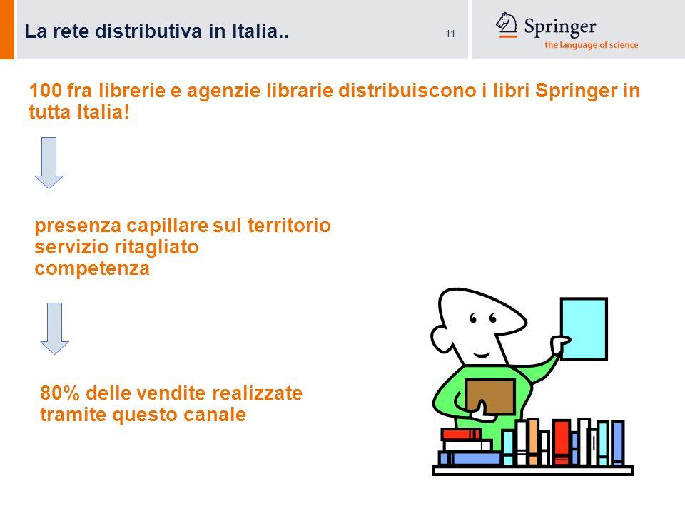 11 La rete distributiva in Italia.. 100 fra librerie e agenzie librarie distribuiscono i libri Springer in tutta Italia! presenza capillare sul territ