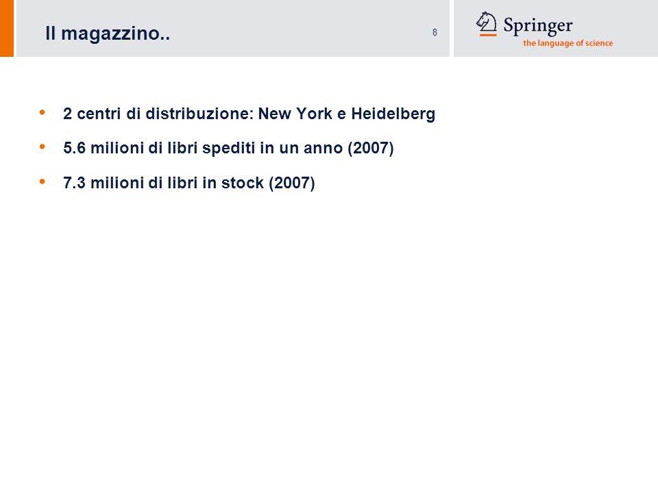 8 2 centri di distribuzione: New York e Heidelberg 5.6 milioni di libri spediti in un anno (2007) 7.3 milioni di libri in stock (2007) Il magazzino..