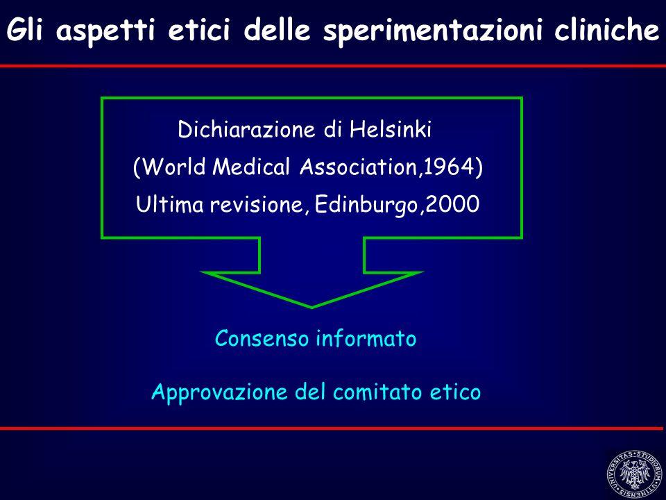 Gli aspetti etici delle sperimentazioni cliniche Dichiarazione di Helsinki (World Medical Association,1964) Ultima revisione, Edinburgo,2000 Consenso