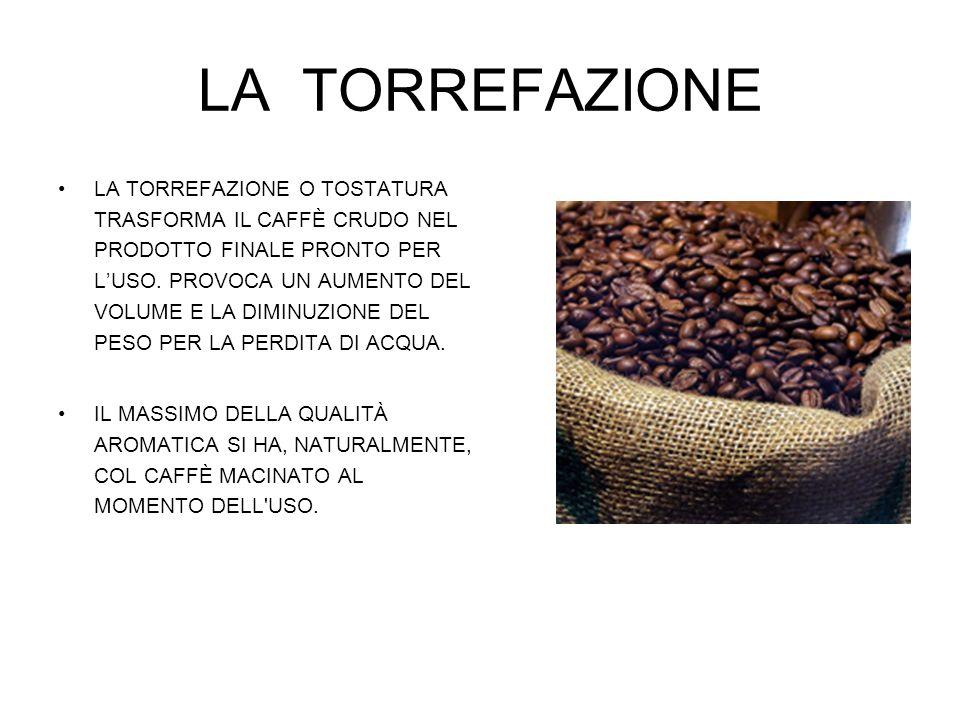 LA TORREFAZIONE LA TORREFAZIONE O TOSTATURA TRASFORMA IL CAFFÈ CRUDO NEL PRODOTTO FINALE PRONTO PER LUSO. PROVOCA UN AUMENTO DEL VOLUME E LA DIMINUZIO