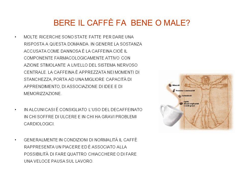 BERE IL CAFFÈ FA BENE O MALE? MOLTE RICERCHE SONO STATE FATTE PER DARE UNA RISPOSTA A QUESTA DOMANDA. IN GENERE LA SOSTANZA ACCUSATA COME DANNOSA È LA