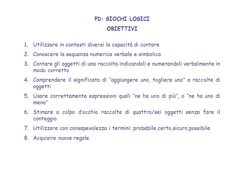 PD: GIOCHI LOGICI OBIETTIVI 1.Utilizzare in contesti diversi la capacità di contare 2.Conoscere la sequenza numerica verbale e simbolica 3.Contare gli