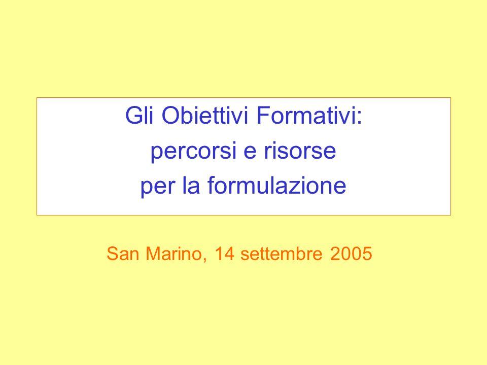 Gli Obiettivi Formativi: percorsi e risorse per la formulazione San Marino, 14 settembre 2005