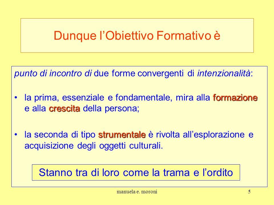 manuela e. moroni5 Dunque lObiettivo Formativo è punto di incontro di due forme convergenti di intenzionalità: formazione crescitala prima, essenziale