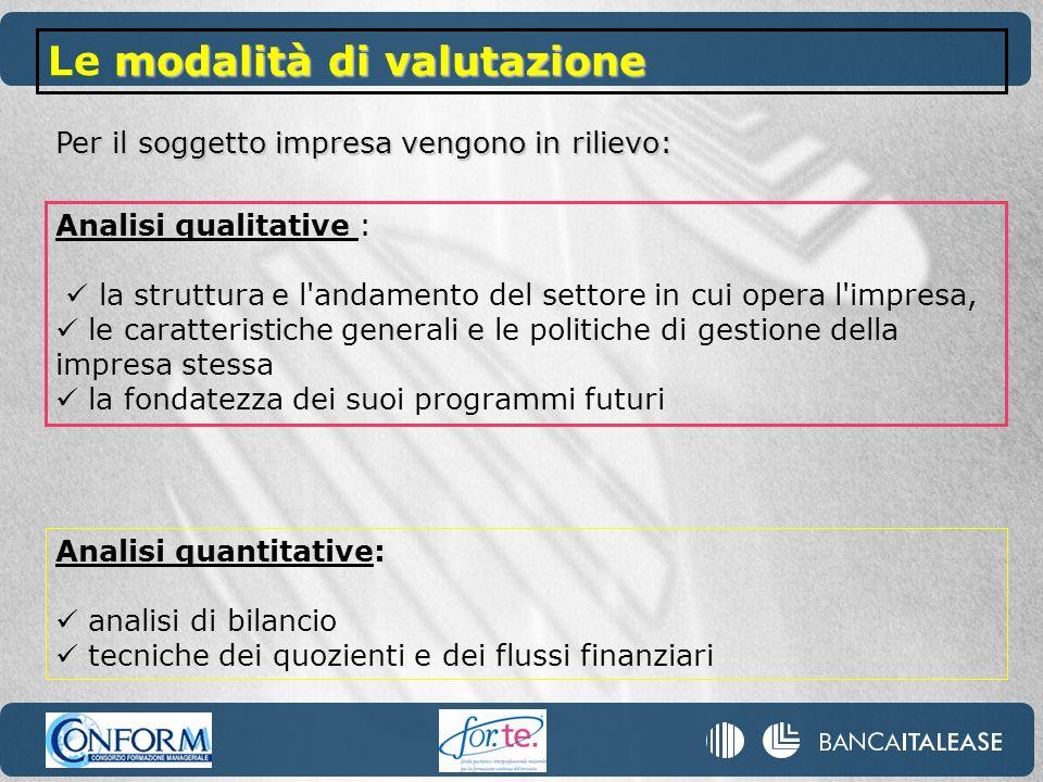 Analisi quantitative: analisi di bilancio tecniche dei quozienti e dei flussi finanziari Per il soggetto impresa vengono in rilievo: Analisi qualitati
