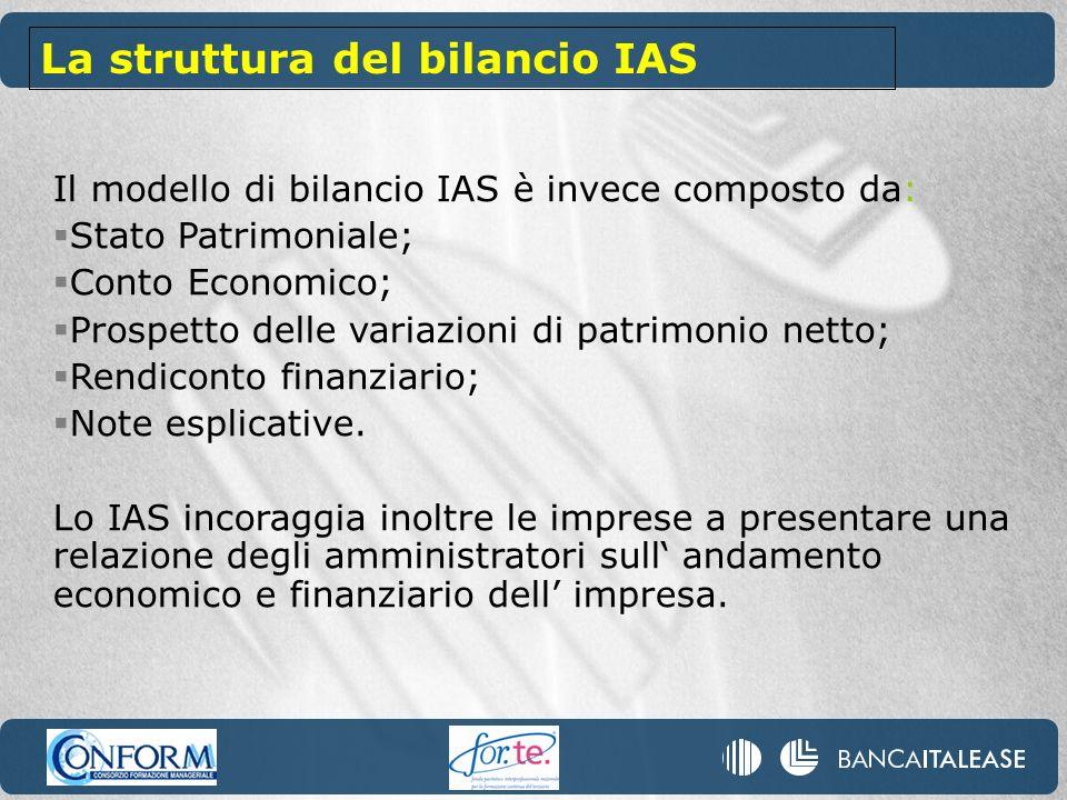 Il modello di bilancio IAS è invece composto da: Stato Patrimoniale; Conto Economico; Prospetto delle variazioni di patrimonio netto; Rendiconto finan