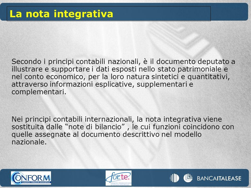 Secondo i principi contabili nazionali, è il documento deputato a illustrare e supportare i dati esposti nello stato patrimoniale e nel conto economic
