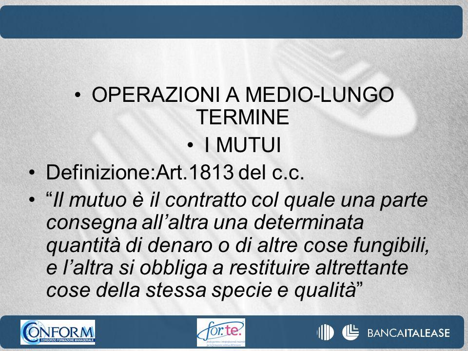 OPERAZIONI A MEDIO-LUNGO TERMINE I MUTUI Definizione:Art.1813 del c.c.