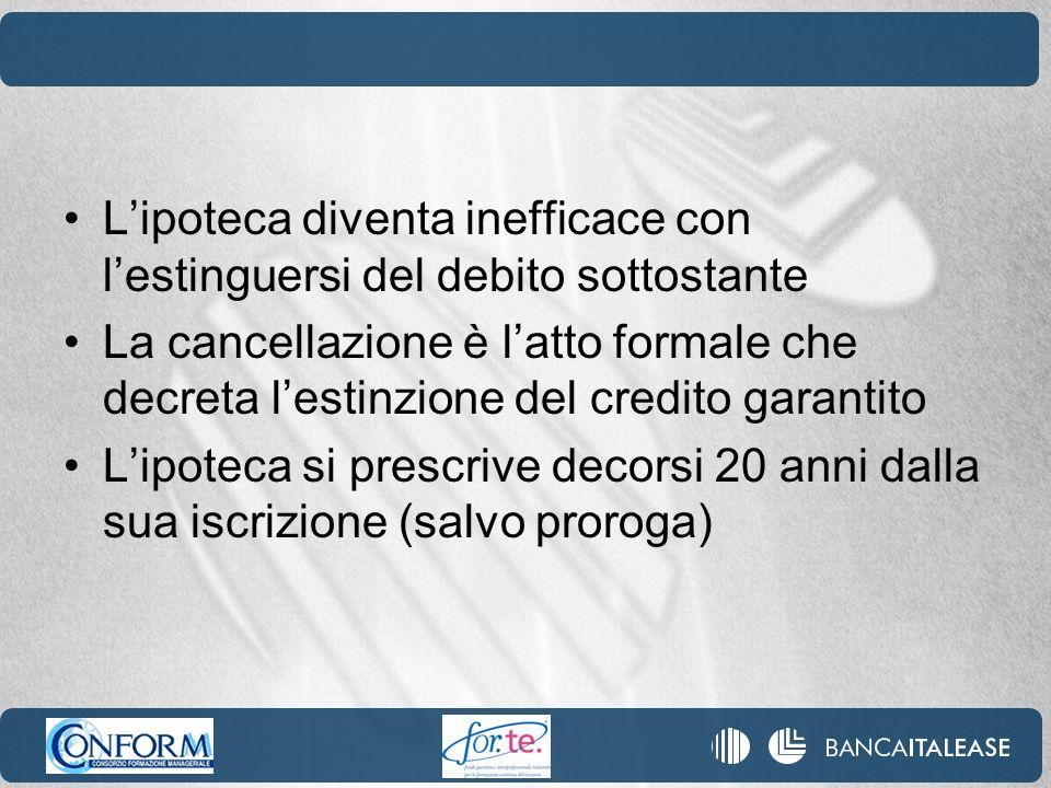 Lipoteca diventa inefficace con lestinguersi del debito sottostante La cancellazione è latto formale che decreta lestinzione del credito garantito Lip