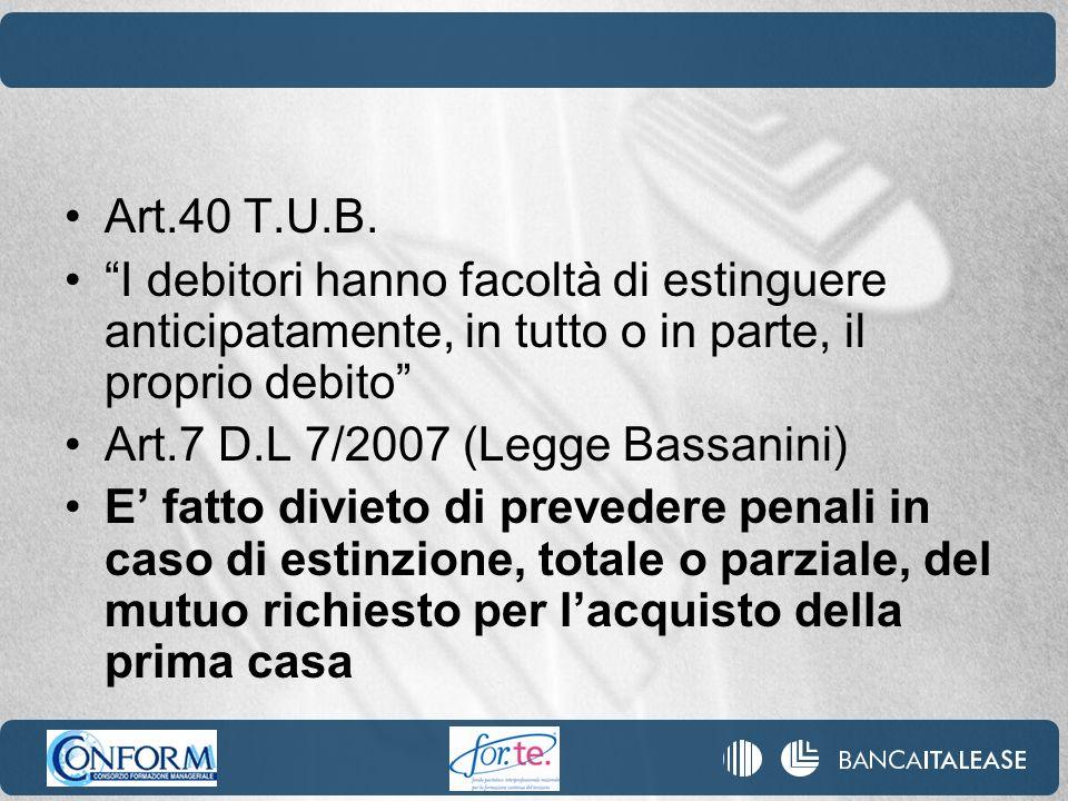 Art.40 T.U.B. I debitori hanno facoltà di estinguere anticipatamente, in tutto o in parte, il proprio debito Art.7 D.L 7/2007 (Legge Bassanini) E fatt