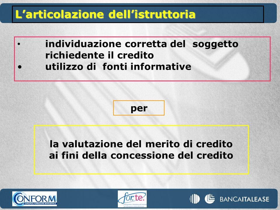 individuazione corretta del soggetto richiedente il credito utilizzo di fonti informative Larticolazione dellistruttoria la valutazione del merito di credito ai fini della concessione del credito per