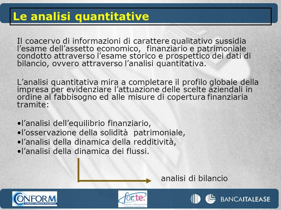 Il coacervo di informazioni di carattere qualitativo sussidia lesame dellassetto economico, finanziario e patrimoniale condotto attraverso lesame stor