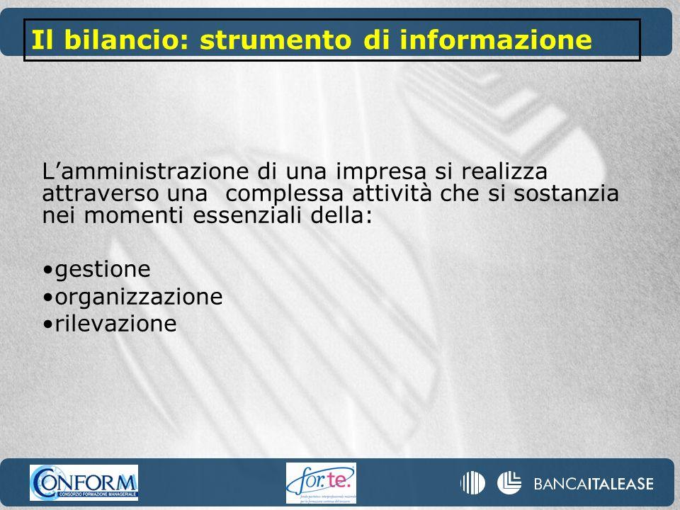 Lamministrazione di una impresa si realizza attraverso una complessa attività che si sostanzia nei momenti essenziali della: gestione organizzazione rilevazione Il bilancio: strumento di informazione