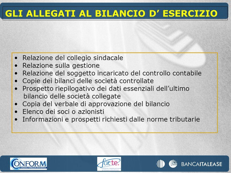 Relazione del collegio sindacale Relazione sulla gestione Relazione del soggetto incaricato del controllo contabile Copie dei bilanci delle società co