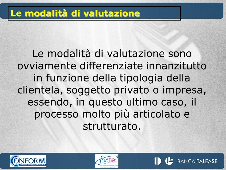 Le modalità di valutazione sono ovviamente differenziate innanzitutto in funzione della tipologia della clientela, soggetto privato o impresa, essendo, in questo ultimo caso, il processo molto più articolato e strutturato.