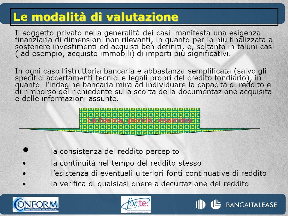 Il soggetto privato nella generalità dei casi manifesta una esigenza finanziaria di dimensioni non rilevanti, in quanto per lo più finalizzata a soste