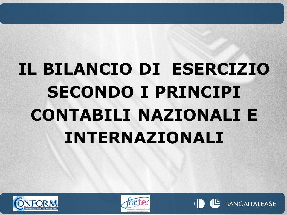 IL BILANCIO DI ESERCIZIO SECONDO I PRINCIPI CONTABILI NAZIONALI E INTERNAZIONALI