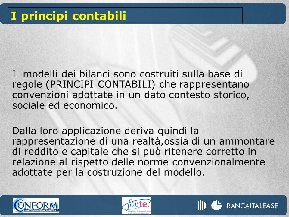 I modelli dei bilanci sono costruiti sulla base di regole (PRINCIPI CONTABILI) che rappresentano convenzioni adottate in un dato contesto storico, soc